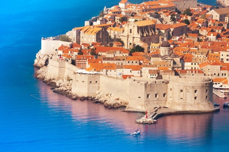 Fortress and wall of Dubrovnik old town photo