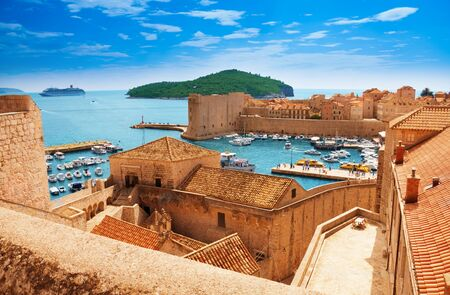 Port of Dubrovnik from the old city walls photo