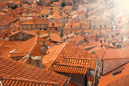 panoramic roof: Red old tile roofs of Dubrovnik town