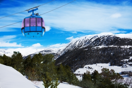 tourism in andorra: Mountains in Androrra and ski cable car over the valley