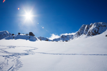 andorra: Snow plain and mountain on sunny day in Andorra Stock Photo