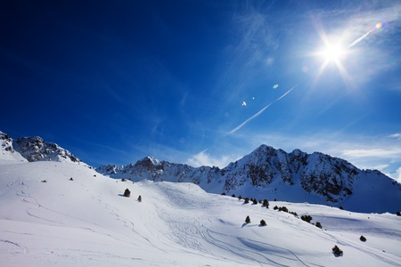 skiers: Mountain landscape in Pyrenees mountains with paths from freestyle skiers Stock Photo