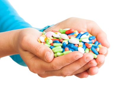 handful: Two hands full of big pile of different drugs