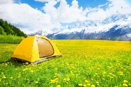 배경에 산 좋은 노란 민들레 필드에서 텐트 야영 스톡 콘텐츠 - 20978457