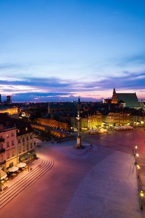 Evening dusk panorama of Castle square of Poland capital Warsaw at dusk twilight Stock Photo - 22342257