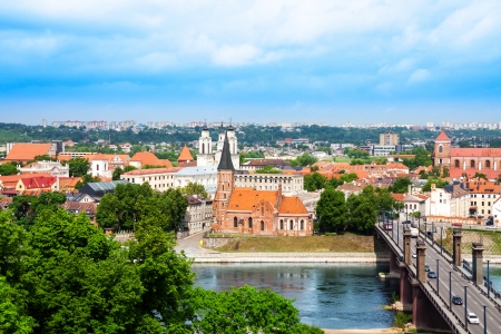 Panorama of the river and town of Kaunas on the west of Lithuania with church on front Nemunas river
