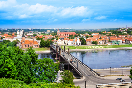Panorama of the river and town of Kaunas on the west of Lithuania