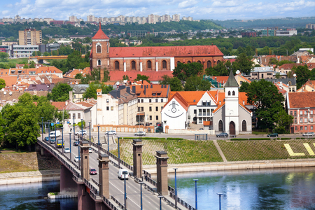kaunas: Panorama of Nemunas river and town of Kaunas on the west of Lithuania Stock Photo
