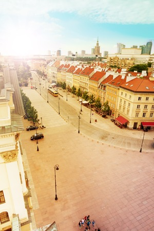 krakowskie przedmiescie: Krakowskie Przedmiescie street panorama from bell tower near main Warsaw Castle square at downtown Stock Photo