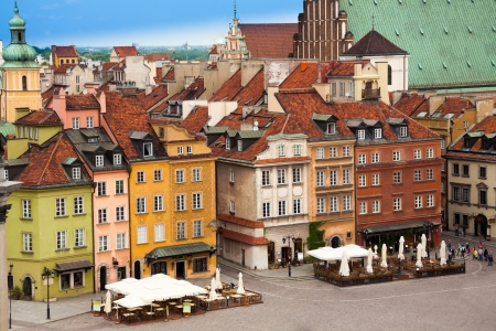 Color houses on Castle square in Warsaw, capital of\ Poland