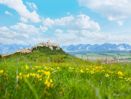 Spis Castle on the hill on the North of Slovak republic and Tatra mountains on background