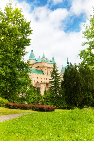 manor: Bojnice castle in Slovakia view from the garden Stock Photo