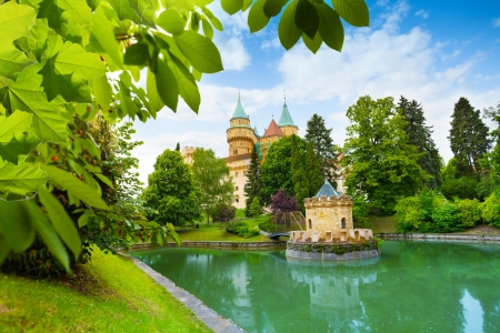 czechoslovakia: Bojnice castle in Slovakia view from park with the pond