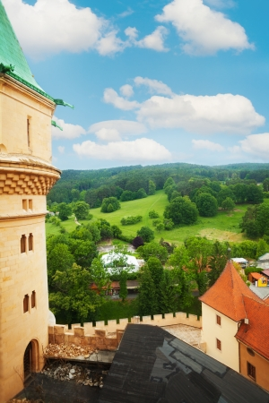 czechoslovakia: View fro Bojnice castle tower in Slovakia, and nearby hills