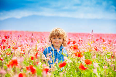 Happy little smiling boy standing and smiling in poppy field  photo