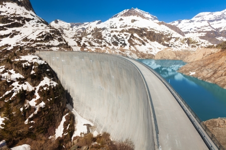 ice dam: The Emosson hydroelectric Dam, 2000 meters above sea level near village of Chatelard, Swiss on the border with France