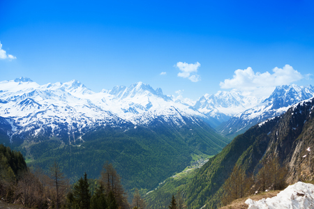 Mountain range of Mont Blanc on the border with Switzerland and France photo