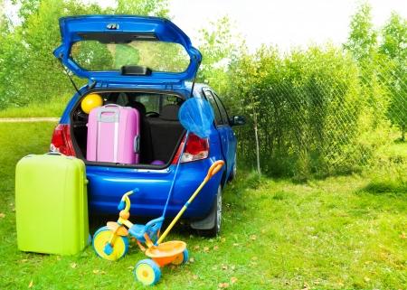 persona viajando: Embalaje del coche con bolsas de viaje, chorrito, bola, bola-net