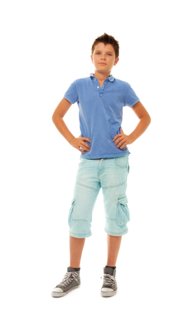 11 years: Hull height portrait of happy young boy 11 years old, isolated on white