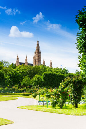 Vienna town hall, view from the park in capital of Austria photo
