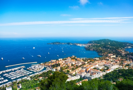 cote: Nice city in France panorama of the bay with ships and boats in the Mediterranean sea