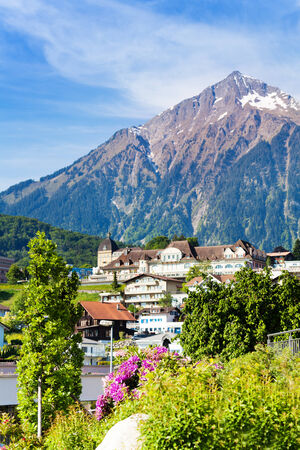 Alps and Spiez village panorama in Switzerland  photo