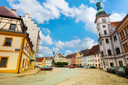 vary: Loket main square and church, little town in the west of Czech Republic, Eastern Europe