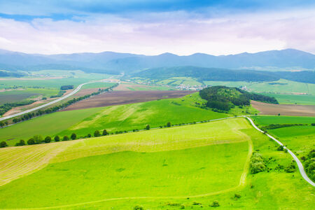 filed: Panorama of different fields strips from above in Slovakia Stock Photo