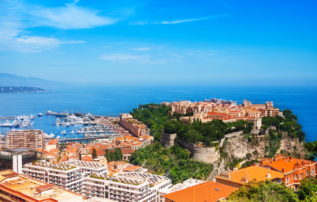 Old city peninsula with prince palace in Monaco, tiny little country in Mediterranean Europe photo