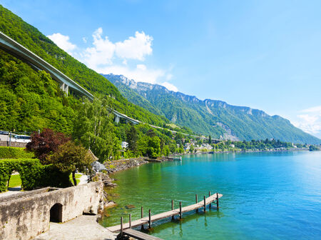 chillon: Overpass near Chillon castle walls on Geneva lake in Switzerland