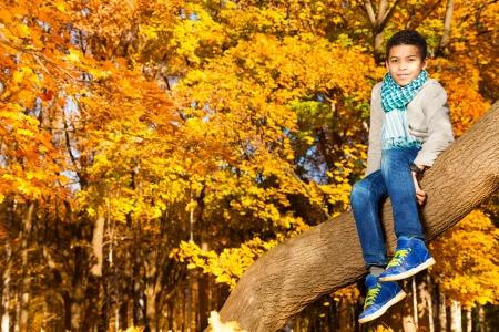 10 month: Black 10 years old black boy sitting on the tree in autumn park with maple orange leaves