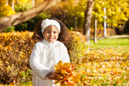Beautiful little smiling black girl in white clothes with bunch of maple leaves in the autumn park photo