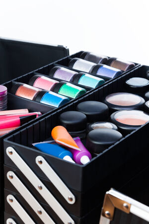 Tools for makeup artist in beautician case photo