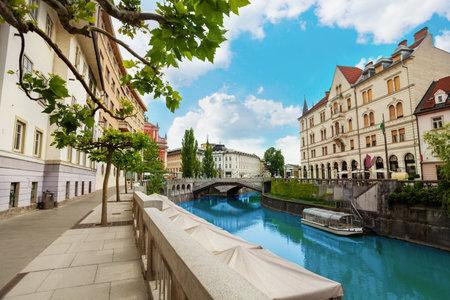 Ljubljana river embankment in downtown on central street