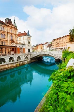 slovenia: Ljubljanica river in Ljubljana, capital of Slovenia Stock Photo