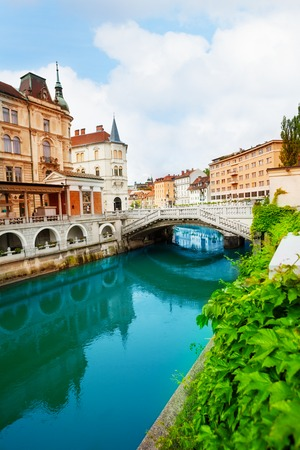 Ljubljanica rivier in Ljubljana, hoofdstad van Slovenië