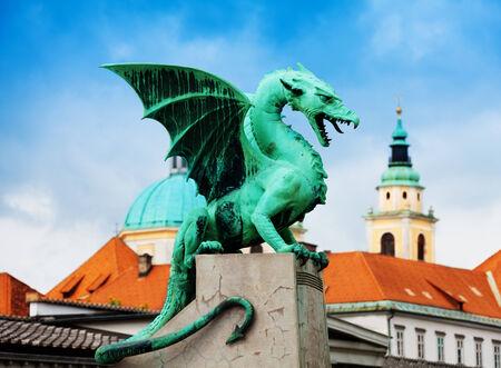 ljubljana: Close shot of the Dragon statue in Ljubljana on famous bridge