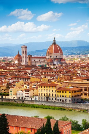 florence italy: Panorama of the river and famous basilica in Florence, Italy  Stock Photo