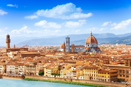 florence italy: Cityscape panorama of Arno river, towers and cathedrals of Florence