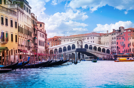 rialto bridge: Rialto Bridge in Venice view from Grand canal Stock Photo