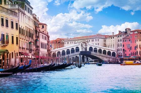 rialto bridge: Rialto Bridge in Venice view from Grand canal Stock Photo