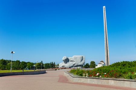 Obelisk and head monument of unknown soldier of Brest fortress, world war 2 first attacked post in USSR