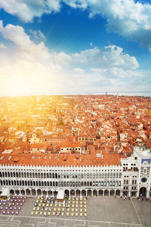 San Marco square and Venice city panorama on sunrise on summer day from above photo
