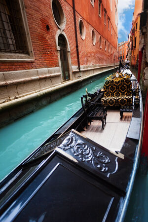 Gondola close-up in Venice embarked in canal