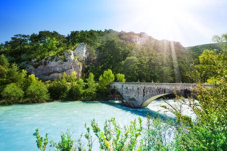 provencal: Bridge over Le Verdon river in south French Alps mountains