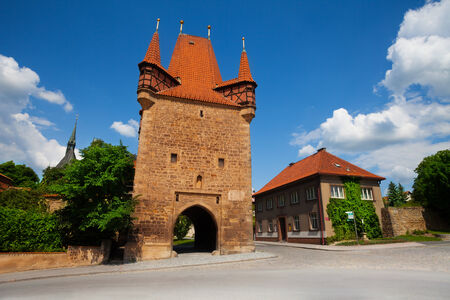 Rakovnik wall tower on sunny day in Czech Republic