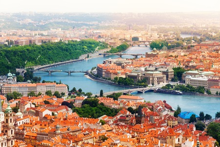 prague: Vltava river and bridges in Prague bird view panorama