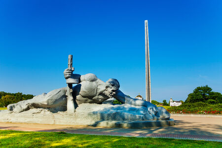 castles needle: Soldier crawling for water monument in Brest fortress, Belarus, world war 2 first attacked in USSR