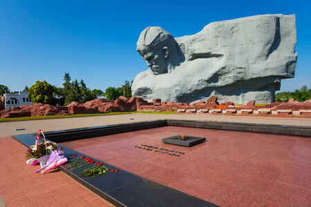 Quenchless flame memorial and soldier monument, world war 2 first attacked in USSR