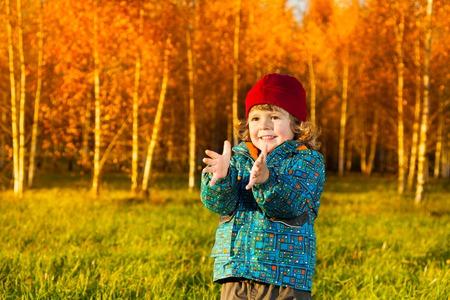 manos aplaudiendo: Riendo tres años de edad niño de pie en el césped en el parque de otoño y las manos que aplauden Foto de archivo